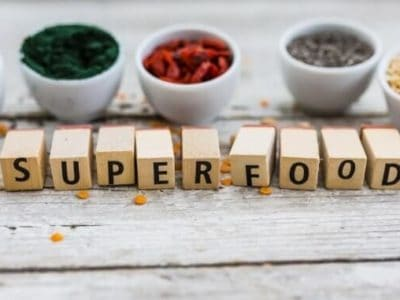 superfood chia samen 3 Superfood and healthy food on wooden background. Organic food.