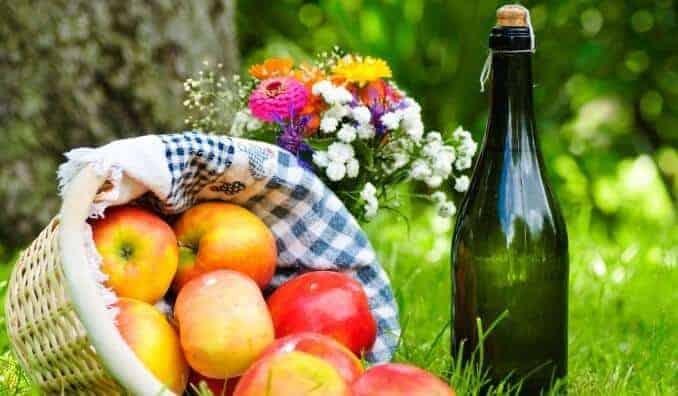 Äpfel, Wein und Blumenstrauß