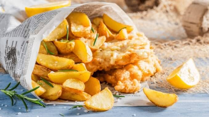 vegane Fish and chips bei greene king flamming grill