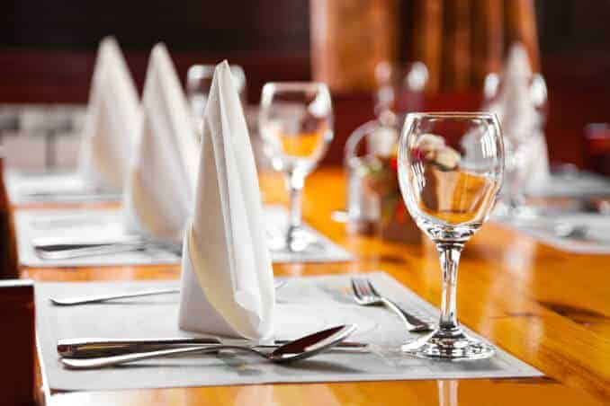 Restaurant Glasses and plates on table in restaurant