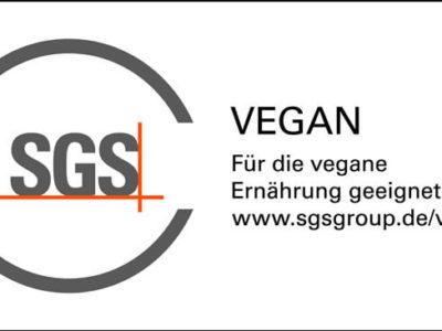 """SGS Prüfzeichen """"Für die vegane Ernährung geeignet"""""""
